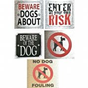 Dog Signs for Dog Owners 8cm x 8cm ideal for doors, gates etc
